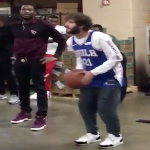 Meek Mill and Lil Dicky Shoot Hoops After 76ers Game